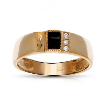 Кольцо-печатка с агатом и бриллиантом из золота