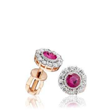 Серьги-пусеты с рубином и бриллиантами
