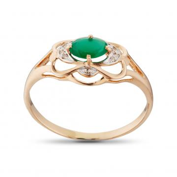 Кольцо из золота с агатом и бриллиантами