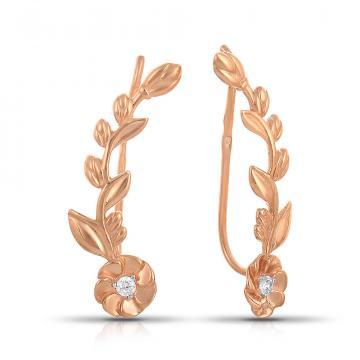 Серьги-каффы TALANT Цветы из золота с фианитами
