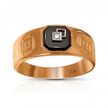 Кольцо-печатка из золота с агатом и бриллиантом