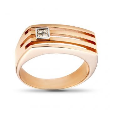 Кольцо печатка из золота с бриллиантом