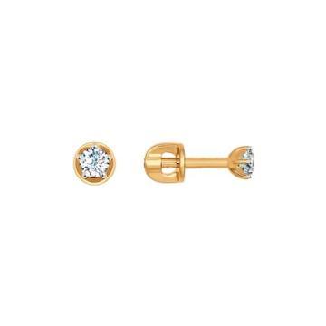 Серьги-пусеты SOKOLOV из золота с фианитами