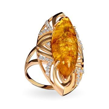 Кольцо из золота с янтарём и фианитами