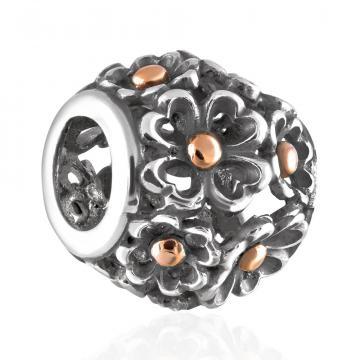 Подвеска-шарм Цветы из золота и серебра, коллекция АНДОРА