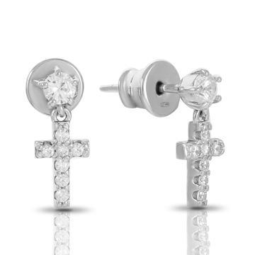 Серьги-пусеты Крестик из серебра с фианитами