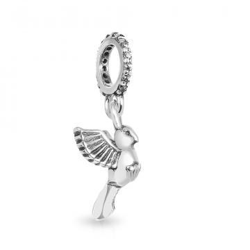 Подвеска-шарм Птица из серебра с фианитами