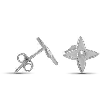 Серьги-пусеты TALANT Цветок из серебра, коллекция Геометрия