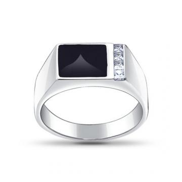 Кольцо-печатка SOKOLOV из серебра с эмалью и фианитами