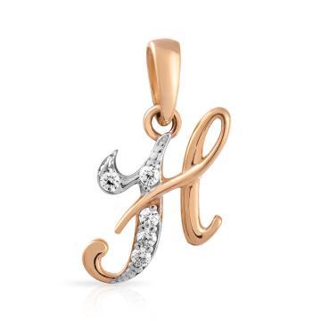 Подвеска буква Н из золота с фианитами