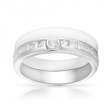Кольцо из серебра с керамикой и фианитами