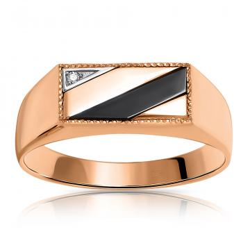 Кольцо-печатка из золота фианитами