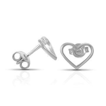 Серьги-пусеты TALANT детские Сердце из серебра, коллекция Геометрия