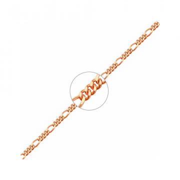 Цепочка, плетение Фигаро с алмазной гранью, из золота