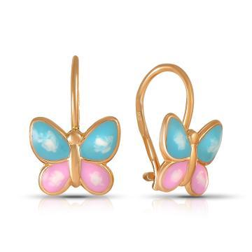 Серьги детские Бабочки из золота с эмалью