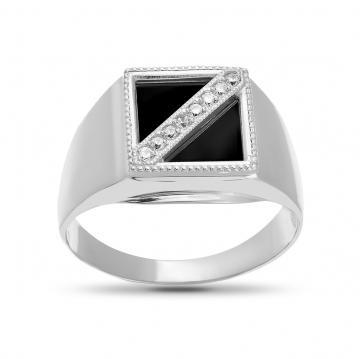 Кольцо-печатка с фианитами из серебра
