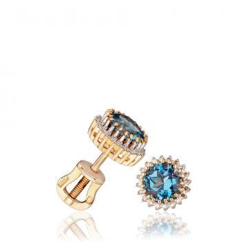 Серьги-пусеты из золота с топазом и бриллиантами