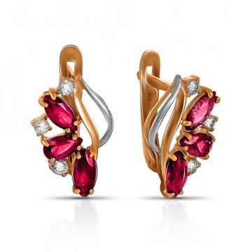 Серьги из золота с рубинами и бриллиантами