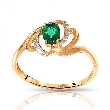 Кольцо из золота с изумрудом и фианитами