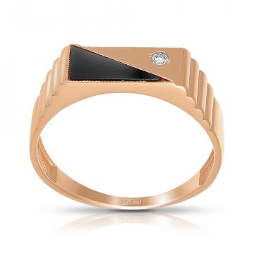 Кольцо-печатка TALANT из золота с агатом и бриллиантом
