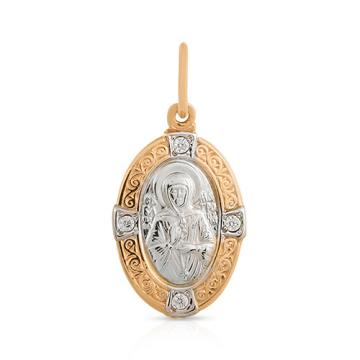 Подвес-икона Святая Матрона с фианитами из золота