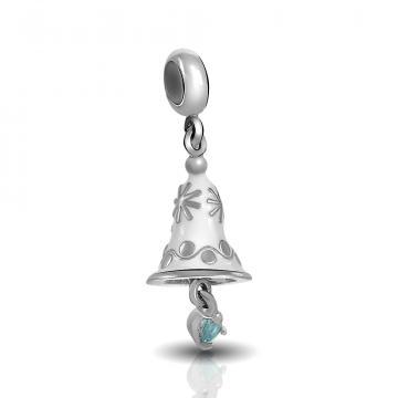 Подвеска-шарм из серебра с эмалью и фианитами