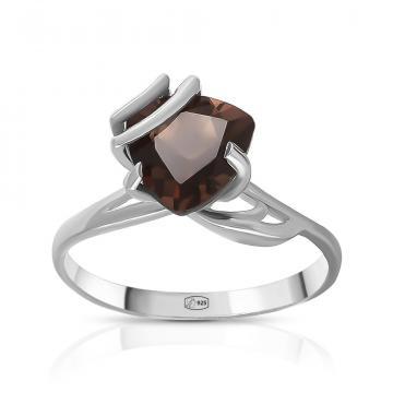 Кольцо из серебра с раух-топазом