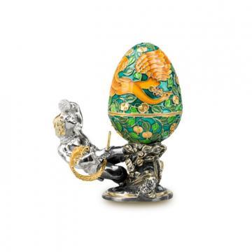 Шкатулка-яйцо Жар-птица из серебра с эмалью