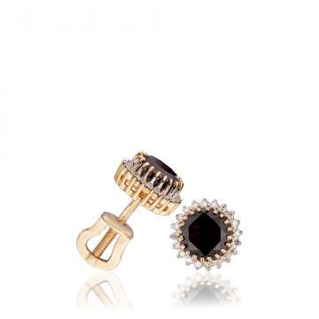 Серьги-пусеты с гранатом и бриллиантами