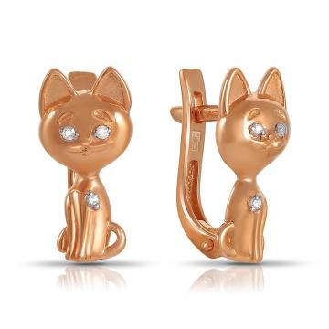 Серьги TALANT Котики из золота с бриллиантами