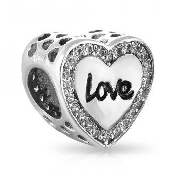 Подвеска-шарм Love из серебра с фианитами