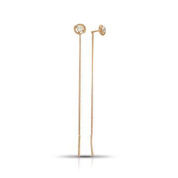 Серьги-продёвки TALANT из золота с фианитами
