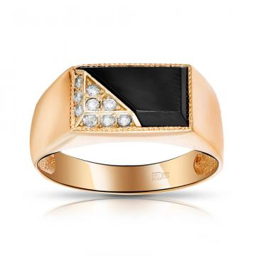Кольцо-печатка с агатом и фианитами из золота