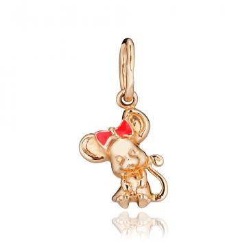 Подвеска детская Мышка из золота с цветной эмалью
