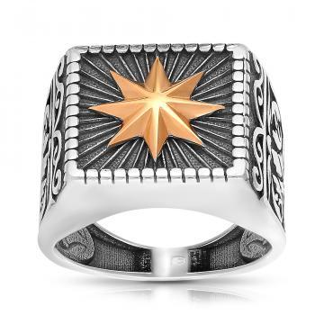 Кольцо-печатка из серебра