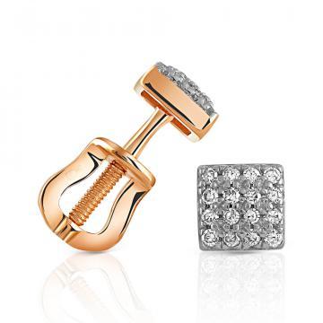 Серьги-пусеты из золота с бриллиантами