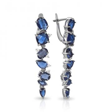 Серьги из серебра с ювелирными кристаллами