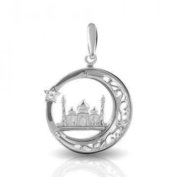 Подвеска мусульманская из серебра с фианитом