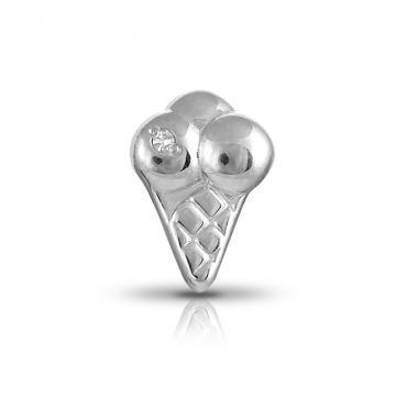 Серьга-пусета Мороженое из серебра с бриллиантом