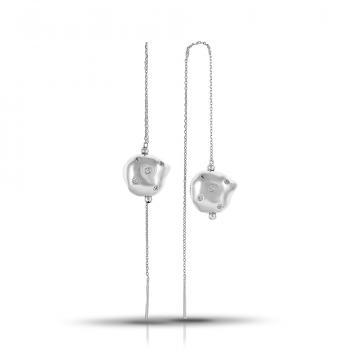 Серьги-продёвки из серебра с фианитами