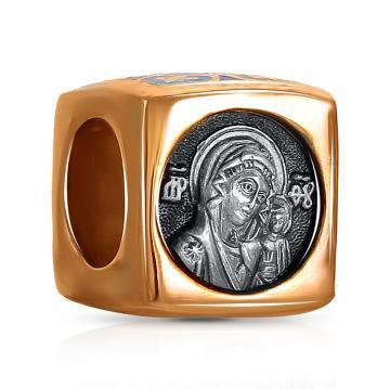 Подвеска-шарм Казанская икона Божией Матери из серебра с эмалью