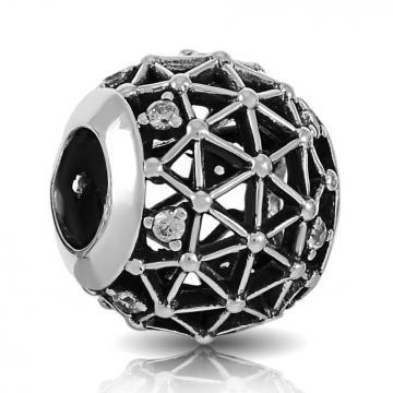 Подвеска-шарм из серебра с фианитами