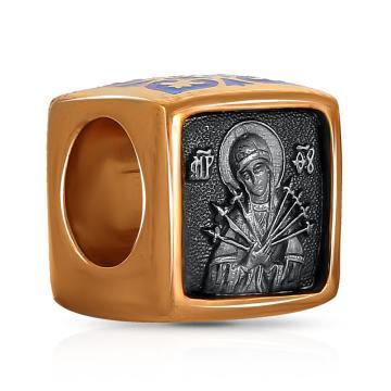 Подвеска-шарм Икона Божией Матери Семистрельная из серебра с эмалью