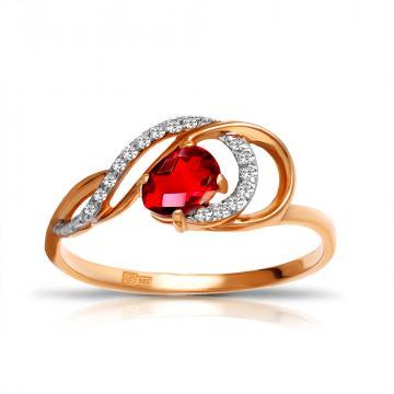 Кольцо из золота с рубеллитом и фианитами