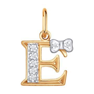 Подвеска SOKOLOV буква E из золота с фианитами