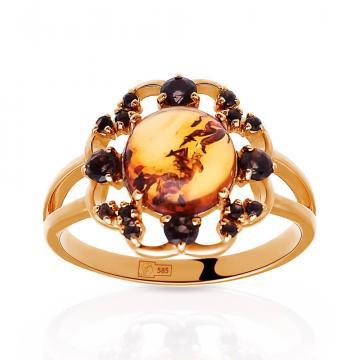 Кольцо из золота с янтарем и раух-топазом