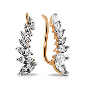 Серьги с фианитами из золота, коллекция Рок-н-Ролл