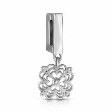 Подвеска-шарм Цветок из серебра с фианитами