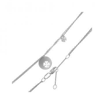 Браслет на ногу (анклет) Клевер из серебра