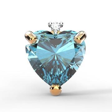 Серьга-пусета из золота топазом и бриллиантом